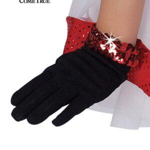 Black Short Nylon Dance Gloves - With Sequin