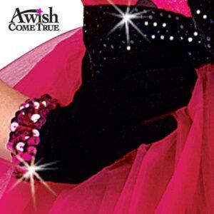 Black Short Nylon Dance Gloves - With Sequin 2