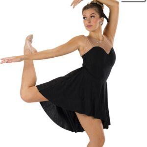 591  Set In Stone Creased Spandex Lyrical Contemporary Dance Dress Black