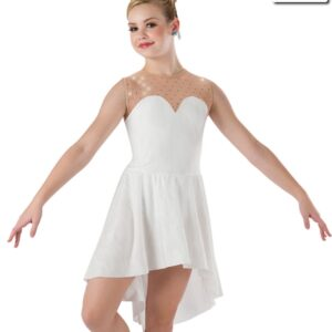 591  Set In Stone Creased Spandex Lyrical Contemporary Dance Dress Ivory