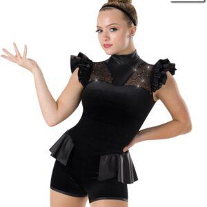 653  Secrets Velvet And Faux Leather Jazz Dance Shortall