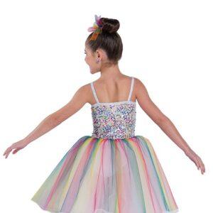 698  Kids Rainbow Sequin Ballet Tutu Back