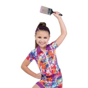 705  Come Paint With Me Splatter Print Kids Character Performance Dance Shortall