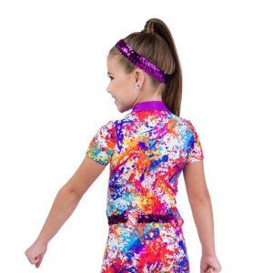 705  Come Paint With Me Splatter Print Kids Character Performance Dance Shortall Baxk