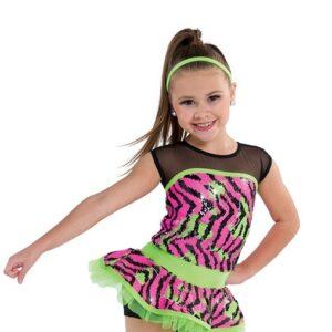 722  You Got It Zebra Flip Sequin Kids Jazz Dance Costume