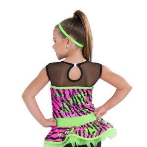 722  You Got It Zebra Flip Sequin Kids Jazz Dance Costume Back