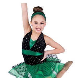 727  Raise The Roof Sequin Dot Velvet Tap Jazz Dance Costume Kelly