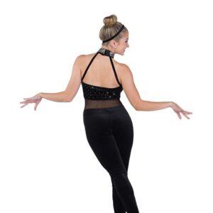 730  Can We Pretend Sequin Dot Velvet Tap Jazz Dance Unitard Back