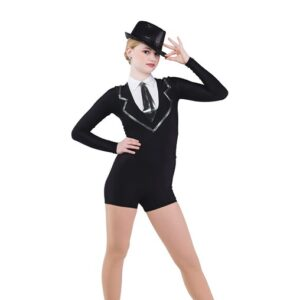 742  Good Guys Men In Black Tap Jazz Dance Costume