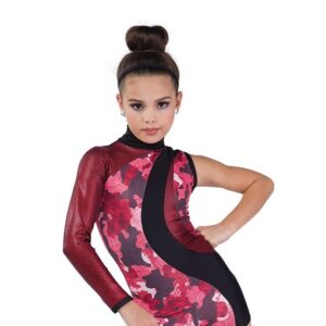 746  A When What Foil Camo Hip Hop Dance Costume Red