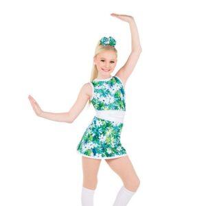766  Floral Print Foil Jazz Dance Dress