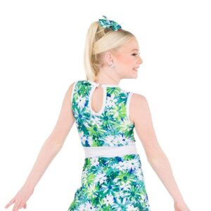 766  Floral Print Foil Jazz Dance Dress Back