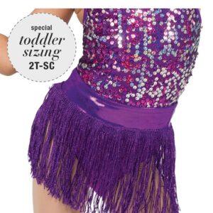 769F  Broadway Bound Fringe Skirt Purple