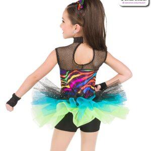 772  Neon Foil Zebra Print Kids Hip Hop Performance Costume Back