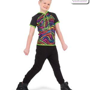 773  Boy Neon Foil Zebra Print Hip Hop Top