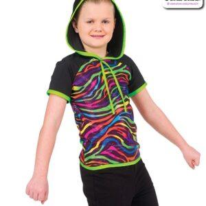 773  Boy Neon Foil Zebra Print Hip Hop Top A
