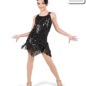 778  Sequin Scroll Jazz Tap Dance Dress Black