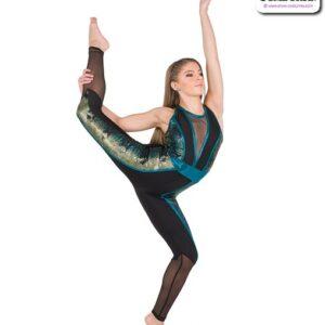 779  Foil Snake Print Acro Dance Unitard A