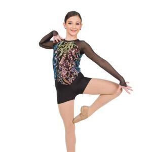 780  Iridescent Sequin Swirl Mesh Jazz Dance Shortall