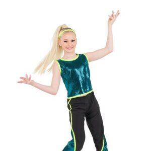 785  Sequin Slinky Hip Hop Dance Costume Turquoise