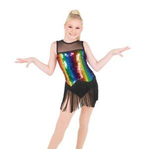 788  Rainbow Striped Sequin Jazz Dance Costume