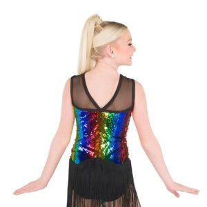 788  Rainbow Striped Sequin Jazz Dance Costume Back