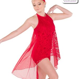 790  Lace Tunic Solid Spandex Lyrical Dance Shortall Red