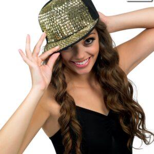 H50  Studded Cap Dance Costume Accessory Gold