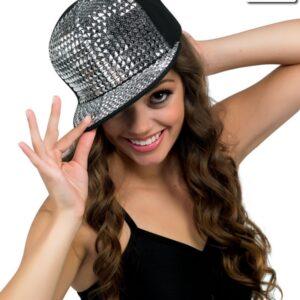 H50  Studded Cap Dance Costume Accessory Silver
