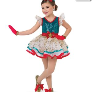 H5  Ribbons And Bows Christmas Themed Jazz Tap Performance Costume