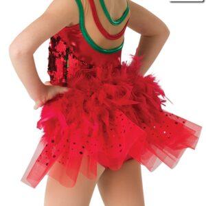 H522 A  Santa Shuffle Bustle Christmas Themed Dance Costume Accessory Back