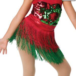 H522F  Santa Shuffle Christmas Themed Dance Fringe Skirt