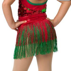 H522F  Santa Shuffle Christmas Themed Dance Fringe Skirt Back