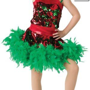 H522 SK  Santa Shuffle Christmas Themed Dance Boa Skirt