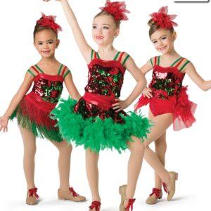 H522  Santa Shuffle Leotard Christmas Themed Jazz Tap Performance Costume