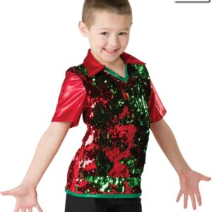 H523  Santa Shuffle Flip Sequin Boys Dance Shirt