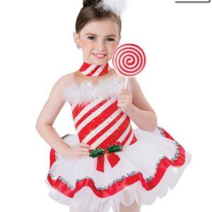 H533  Peppermint Cane Christmas Themed Short Ballet Tutu Front