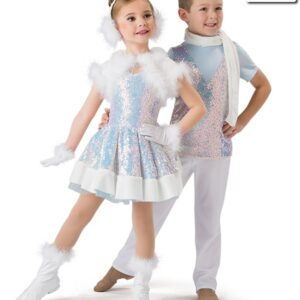 H536  Winter Wonderland Iridescent Sequin Christmas Themed Dance Costume With Guy