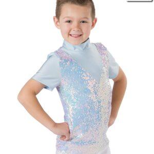 H537  Winter Wonderland Iridescent Sequin Guy Shirt Christmas Themed Dance Top