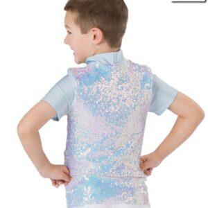 H537  Winter Wonderland Iridescent Sequin Guy Shirt Christmas Themed Dance Top Back