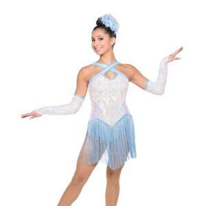 H552  Winter Winter Hymnal Irridescent Swirl Sequin Christmas Inspired Performance Jazz Dance Costume