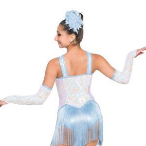 H552  Winter Winter Hymnal Irridescent Swirl Sequin Christmas Inspired Performance Jazz Dance Costume Back