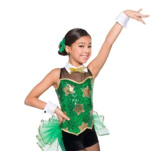 H553  Underneath The Tree Sequin Starmesh Christmas Inspired Performance Jazz Tap Dance Costume Kelly Green