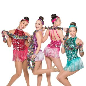 H555  Back In Town Paillette Sequin Christmas Inspired Performance Jazz Dance Costume