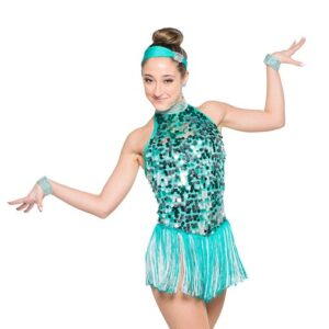 H555  Back In Town Paillette Sequin Christmas Inspired Performance Jazz Dance Costume Jade