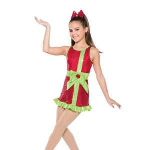 H560  Christmas Wrapping Hologram Sequin Christmas Inspired Performance Jazz Tap Dance Dress