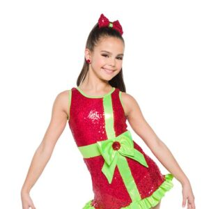 H560  Christmas Wrapping Hologram Sequin Christmas Inspired Performance Jazz Tap Dance Dress Front