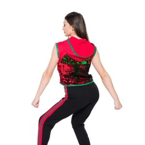 H564  High Top Shoes Flip Sequin Christmas Inspired Performance Hip Hop Dance Costume Back