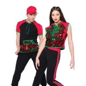 H564  High Top Shoes Flip Sequin Christmas Inspired Performance Hip Hop Dance Costume With Guy