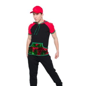 H565  High Top Shoes Flip Sequin Christmas Inspired Performance Hip Hop Guys Dance Top